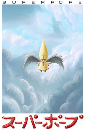 SuperPope Angel painting